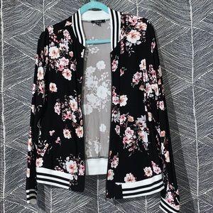 Black & Floral Bomber Jacket